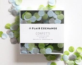 Wedding Confetti - Hand-Cut Confetti - Blooming : Powder, Oasis, Sage, Gray