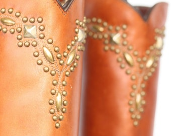 NEW One of a Kind, tall and sexy, Studded Frye boho leather riding boots 7.5 NWOB