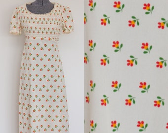 Floral Cream Maxi 1970's Dress SEARS Brand