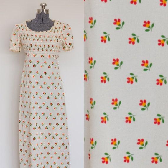 Floral Cream Maxi 1970's Dress SEARS Brand