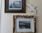 COASTAL SHORES Rustic Driftwood Sea Shell Picture Frame