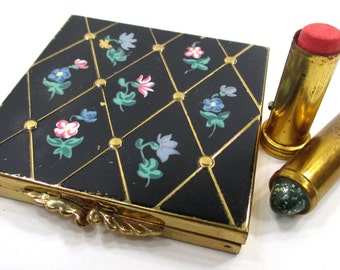Volupte Black Floral Enamel Compact & Revlon Lipstick, Vintage Cosmetic Accessories, Vanity Collectibles