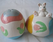 Bunny and Easter Egg Salt and Pepper Shakers - vintage, collectible, serving, kitchen, Easter