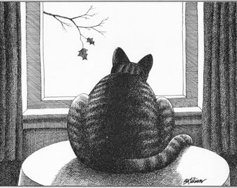 B Kliban Cat Bookplate 1978   Cat looking out Window   USA seller