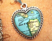 Custom Map Jewelry, San Francisco California Vintage Heart Map Pendant Necklace, Personalize Map Jewelry, Map Cuff Links, Groomsmen Gifts