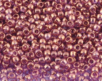 Seed Beads-11/0 Round-202 Gold Luster Lilac-Toho-16 Grams
