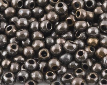 Greek Ceramic Beads-5mm Round-Antique Bronze-Quantity 10