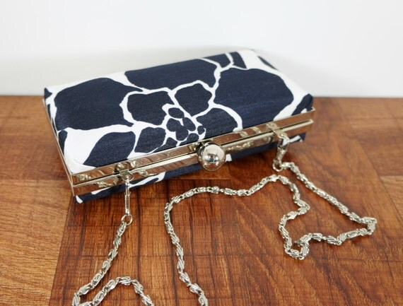 Navy blue clutch, blue and white floral clutch, minaudiere clutch, clamshell clutch with silve chain, hard shell clutch