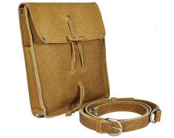 Leather Writer's Bag, Satchel for iPad, EDC, Purse - Buckskin Tan