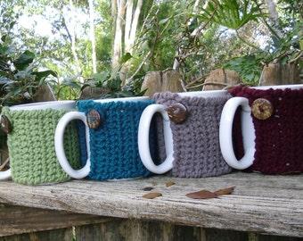 Tea or Coffee mug cup cozy in your choice of  Moss, Deep Turquoise, Walnut, or Wine - mug sweater, mug cover office or teacher gift