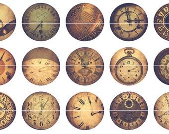 Clock Magnets, Sepia Clock Pnes or Magnets, Sepia Clocks,Gift Sets, Fridge Magnets