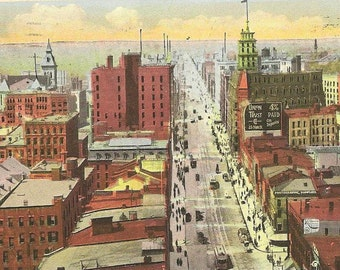 Main Street East Rochester New York Vintage Postcard Looking West From C of C Building 1923
