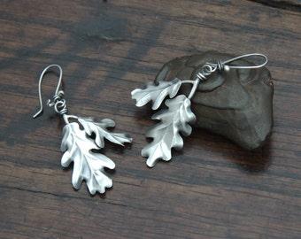 Silver Oak Leaf Earrings, unique, light sterling oak leaf drop earrings