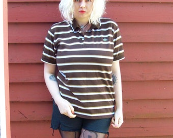 80s Brown Lacoste Striped Polo Preppy Hipster Basic Summer Spring Pull Over L