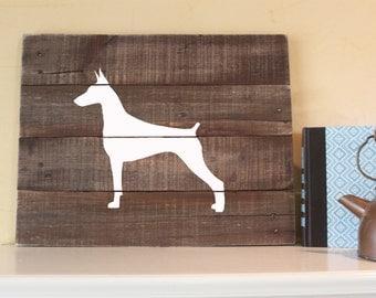 Doberman Pinscher Silhouette, Reclaimed Wood Sign, Doberman Sign, Doberman Artwork, Rustic Doberman Sign, Wooden Doberman, Wood Doberman,