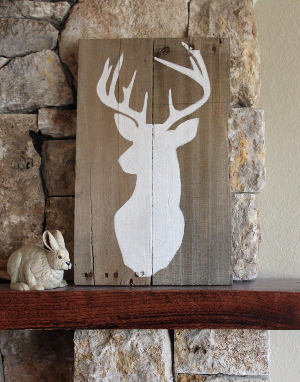 Rustic Cabin Wall Decor : Buck silhouette reclaimed wood sign deer art rustic