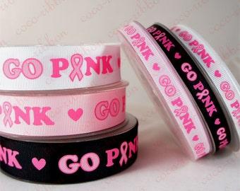 10 Yards 3/8~7/8 Inch (9mm~22mm) Go Pink Breast Cancer Awareness Ribbon Grosgrain Ribbon