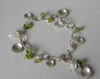 Spring Rain oval dish leaf charm bracelet