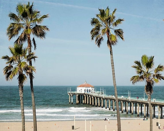 Manhattan Beach California Photography Palm Trees Blue Aqua