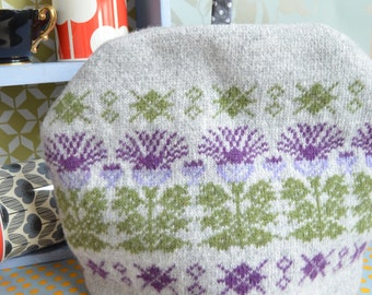 Scottish Highland Thistle Knitted Grey Purple Green Tea Cosy/Cozy