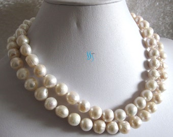 Pearl Necklace -35 Inches 10-12mm White Heavy Surface Freshwater Pearl Necklace - Free shipping
