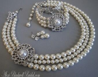 Complete Wedding Set Necklace Bracelet Earrings  3 multi strands Swarovski Pearls and Rhinestone brooch bridal jewelry sets
