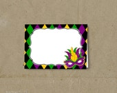 Mardi Gras Party Food Tent Labels Place Cards - Printable DIY - INSTANT DOWNLOAD
