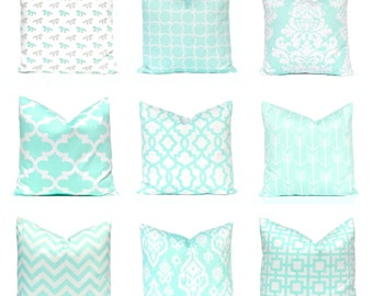 Euro Sham Mint Pillow Covers - Mint Green White Throw Pillows - Decorative Pillows - Mint Euro Sham - Mint Throw Pillow - Mint Lumbar Pillow