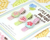 Baby Toddler Hair Clip/Bow Set of 3 Clips Pink Green Turquoise Flower Heart Brads Pastel Spring Easter