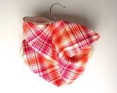 Neck Warmer, Tube Scarf:  Magenta and Tangerine Plaid
