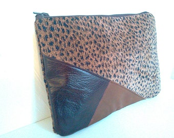 Brown Leather Oversized Clutch Purse, Animal Print Upholstery Fabric Purse, Oversized iPad Case