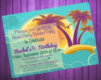 Digital Personalized Beach Birthday Invitation...Retro Beach Invitation-Printable-DIY-5x7