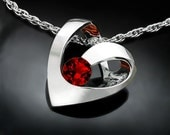 heart necklace, garnet pendant, January birthstone, valentine gift, valentine necklace, Argentium silver necklace, red necklace - 3401