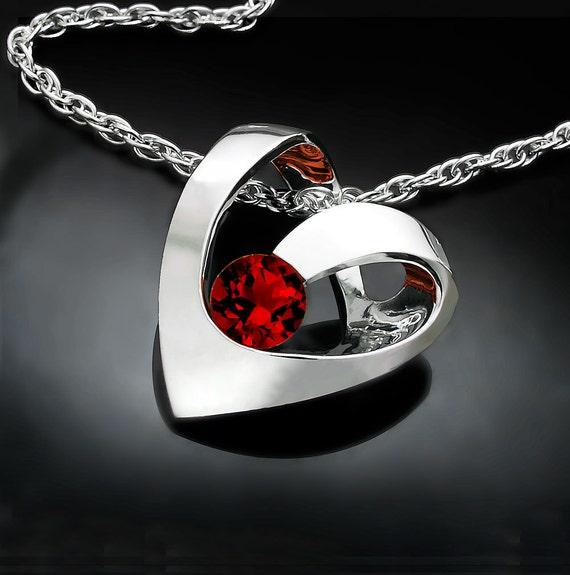 heart necklace, garnet pendant, January birthstone, valentine gift, Mozambique garnet, Argentium silver necklace, red necklace - 3401