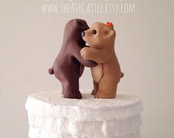 Hugging Bear Love Keepsake Wedding Cake Topper handmade