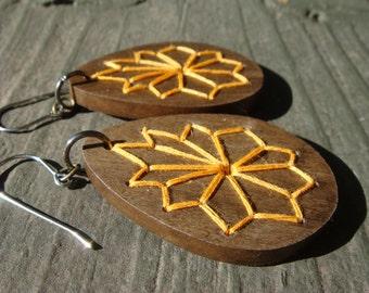 Geometric Embroidered Wood Earrings