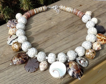 Necklace white cream beige brown shell