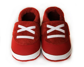 Sport Leather Baby Booties, Baby Shoes, Infant Newborn Children Red White