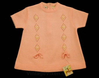 Baby Girl's Vintage Sweater - Size 12 Months - New With Tag - 1960s Pink Knit - Infants - Spring - 60s - Girls - Short Sleeved - 43396