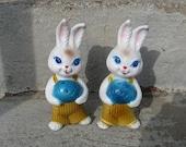 vintage boy easter bunnies  set of 2 plastic