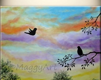 art acrylic painting,back home,flying love birds,24x18inch stretched canvas, ready to hang,great wedding gift