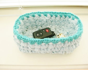Crochet Rag Bowl - Small Crochet Bowl - Turquoise Bowl - Repurposed - Trinket Bowl - Crochet Rag Bowl - Crochet Basket