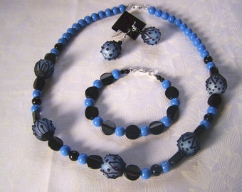 Jewelry Set Periwinkle and Black Beaded Clearance Sale