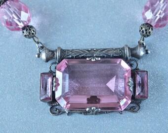 Czech Pink Glass Necklace 1910's Belle Epoch Czechoslovakia Pendant Bridal Jewelry