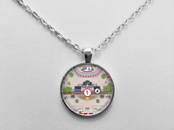 Walt Disney World Railroad Station Necklace from Walt Disney World Magic Kingdom Park Map