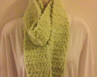 Crocheted Scarf - Fluffy Lime Green