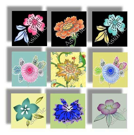 Printable Digital Collage Sheet, Asian, Floral Motifs, Embellishments, Scrapbooking, Jewelry, Crafts, Digital Art, 1 Inch Squares, CS 32