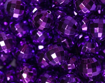 20mm Purple UV Plated Disco Ball Beads for Chunky Necklace 10 ct Bubble Gum Necklace Beads Faceted