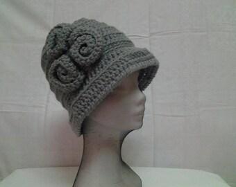 Boho Style Crochet Gray Flowers Cloche ,Crochet Flapper Women Gray Hat,Crochet Fashion Designer Hat