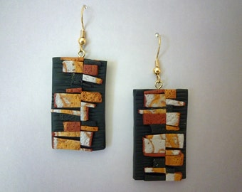 Wooden Wall Earrings Polymer Clay in Pearl, Copper, Gold and Black